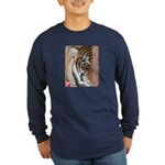 Pastel Drawing PAWS Tiger Long Sleeve Dark T-Shirt