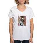 Pastel Drawing PAWS Tiger Women's V-Neck T-Shirt