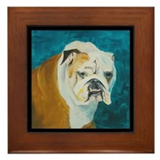Framed Tile featuring English Bulldog