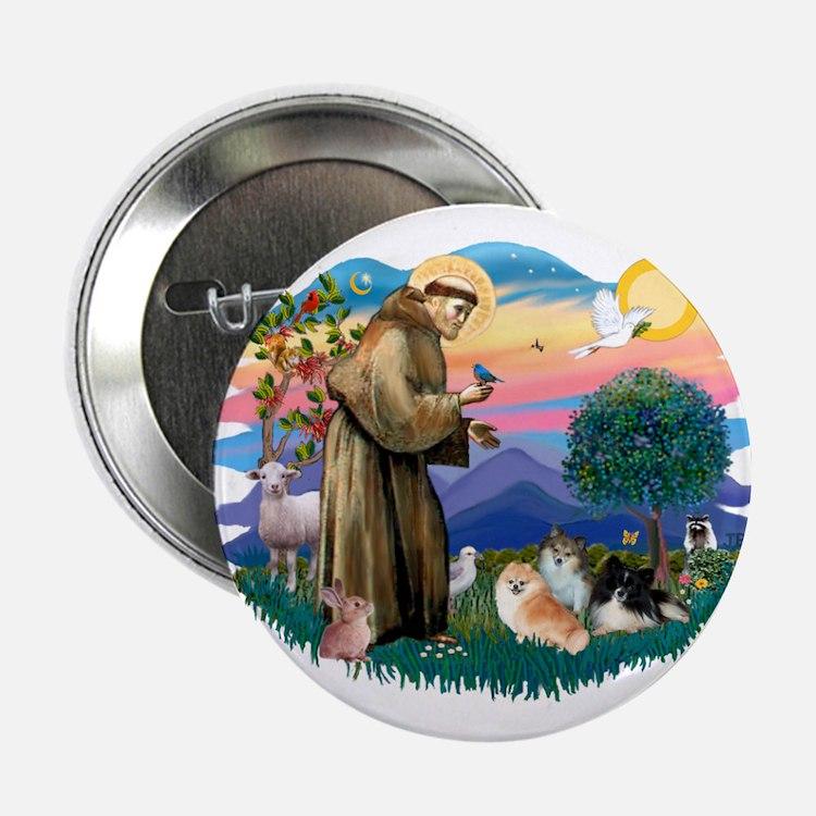 """St Francis #2/Pomeranians(3) 2.25"""" Button"""