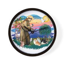 St Francis #2/Pomeranians(3) Wall Clock