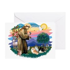 St Francis #2/Pomeranians(3) Greeting Card