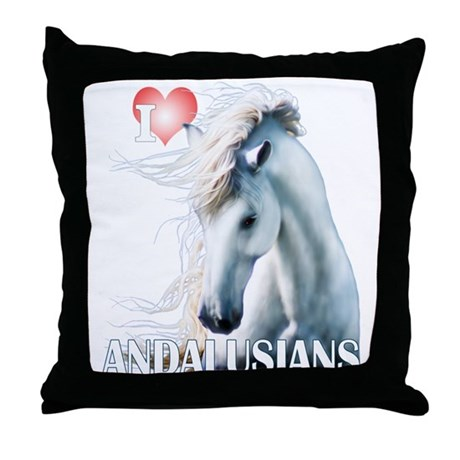 I Love Andalusians Throw Pillow