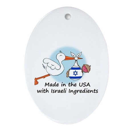 Stork Baby Israel USA Ornament (Oval)