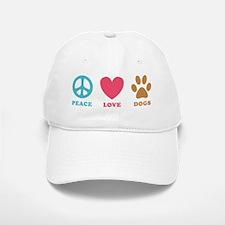 Peace Love Dogs Baseball Baseball Cap