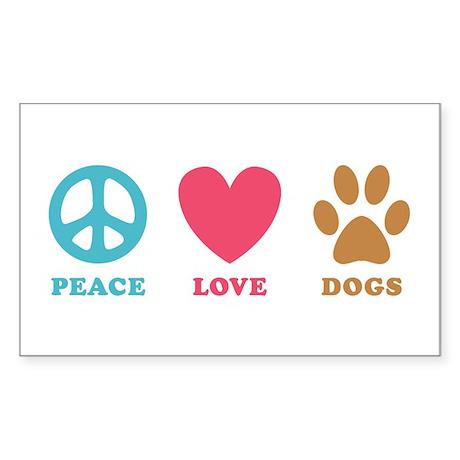 Peace Love Dogs Sticker (Rectangle)