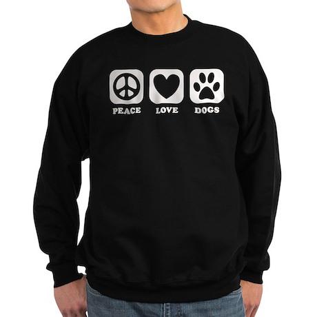 Peace Love Dogs [b/w] Sweatshirt (dark)