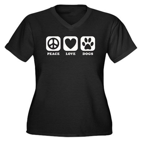 Peace Love Dogs [b/w] Women's Plus Size V-Neck Dar