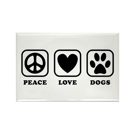 Peace Love Dogs [b/w] Rectangle Magnet