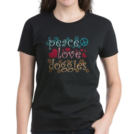 Peace Love Doggies Women's Dark T-Shirt