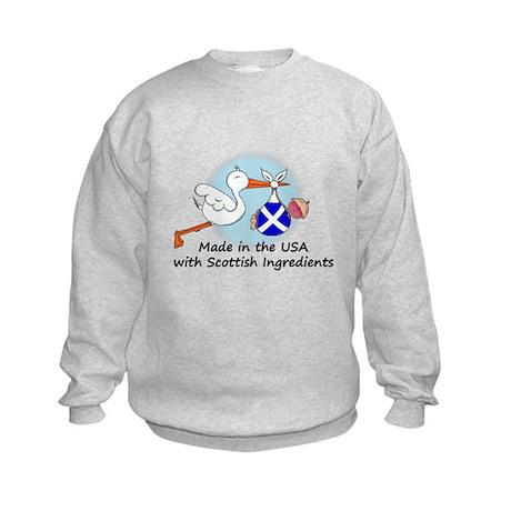 Stork Baby Scotland USA Kids Sweatshirt