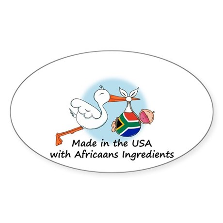 Stork Baby South Africa USA Sticker (Oval)