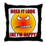 Angry Smiley Face Throw Pillow