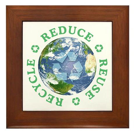 Reduce Reuse Recycle [globe] Framed Tile