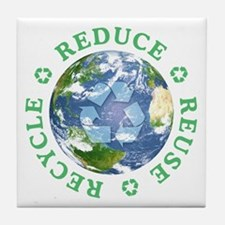 Reduce Reuse Recycle [globe] Tile Coaster