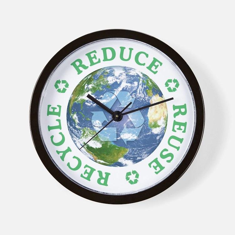 Reduce Reuse Recycle [globe] Wall Clock