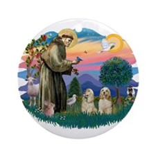 St Francis #2/ Cockers(2 buff) Ornament (Round)