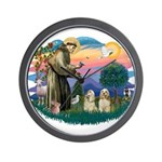 St Francis #2/ Cockers(2 buff) Wall Clock