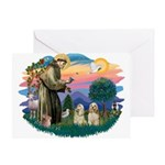 St Francis #2/ Cockers(2 buff) Greeting Card