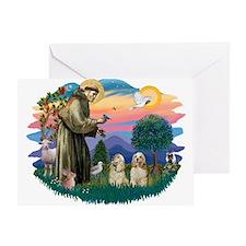 St Francis #2/ Cockers(2 buff) Greeting Card