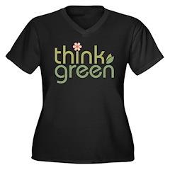 Think Green [text2] Women's Plus Size V-Neck Dark