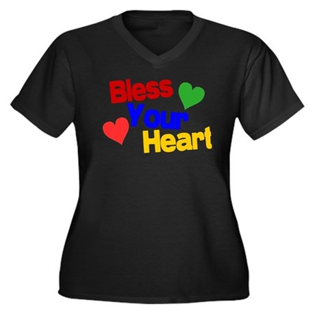 Bless Your Heart Women's Plus Size V-Neck Dark T-S