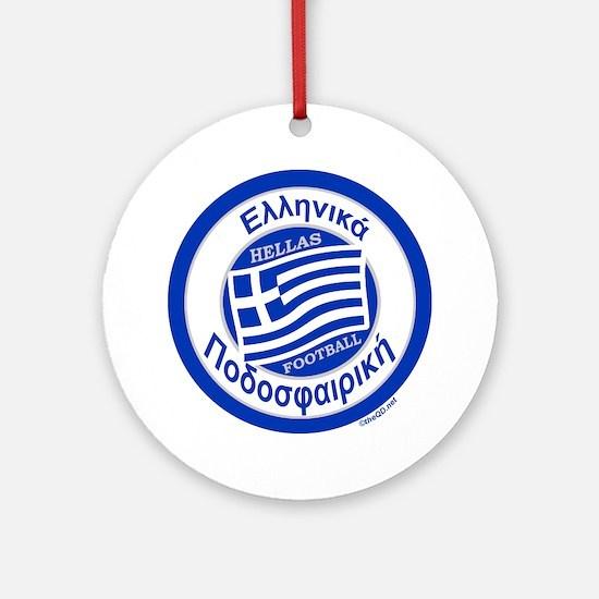 Greece Hellas Soccer/Football Ornament (Round)