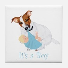 Jack Russell, It's A Boy Gifts Tile Coaster