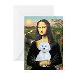 Mona Lisa / Maltese (B) Greeting Cards (Pk of 10)