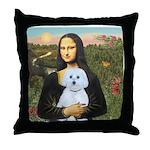Mona Lisa / Maltese (B) Throw Pillow