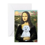 Mona Lisa / Maltese (B) Greeting Card