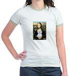 Mona Lisa / Maltese (B) Jr. Ringer T-Shirt