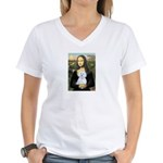 Mona Lisa / Maltese (B) Women's V-Neck T-Shirt
