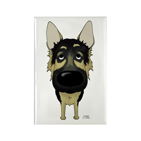 Big Nose German Shepherd Rectangle Magnet