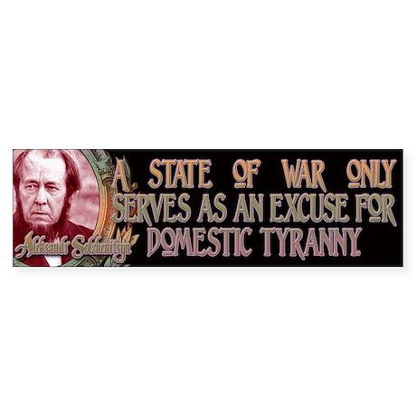Solzhenitsyn on War and Tyran Sticker (Bumper)