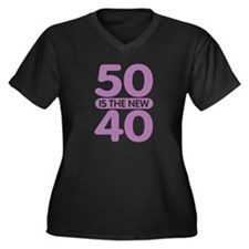 50 is the new 40 Women's Plus Size V-Neck Dark T-S