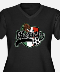 Mexico Soccer Women's Plus Size V-Neck Dark T-Shir