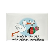 Stork Baby Afghanistan USA Rectangle Magnet