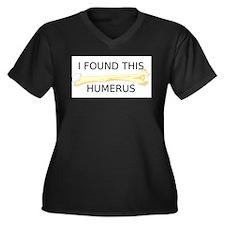 HUMERUS Women's Plus Size V-Neck Dark T-Shirt