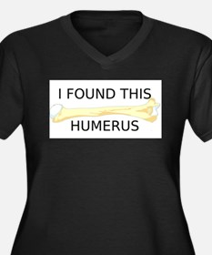 HUMERUS Women's Plus Size V-Neck Dark T-Shirt