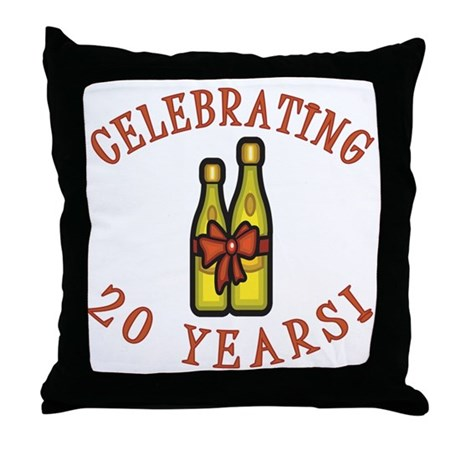 20th Anniversary Wine Bow Throw Pillow