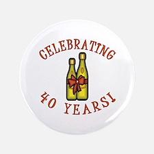 """40th Anniversary Wine Bow 3.5"""" Button"""