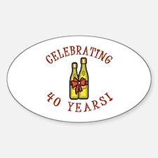 40th Anniversary Wine Bow Sticker (Oval)