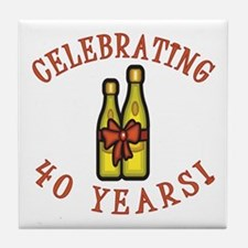 40th Anniversary Wine Bow Tile Coaster