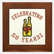50th Anniversary Wine Bow Framed Tile