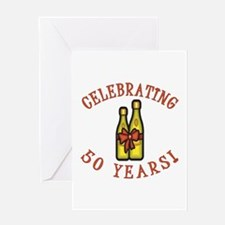 50th Anniversary Wine Bow Greeting Card