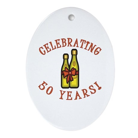 50th Anniversary Wine Bow Ornament (Oval)