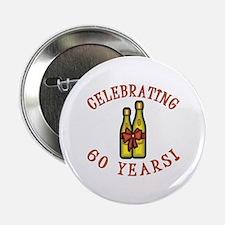 """60th Anniversary Wine Bow 2.25"""" Button"""