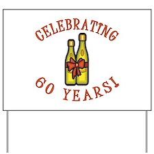 60th Anniversary Wine Bow Yard Sign