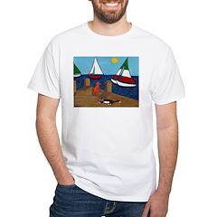 Cats and Sailboats White T-Shirt